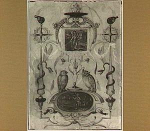 Groteske decoratie met Mercurius, uilen en slangen
