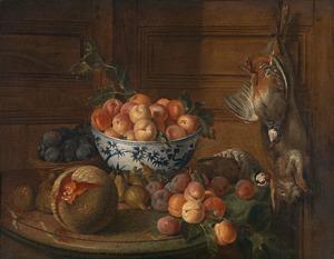 Stilleven van wild en vruchten
