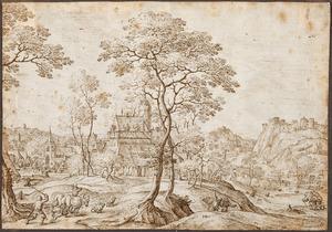 Heuvelachtig landschap met dorp en kasteel