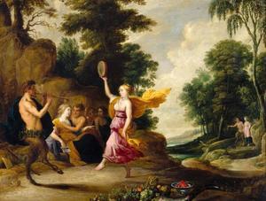 Pan speelt fluit voor nimfen en saters