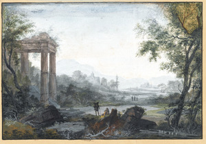 Fantasie rivierlandschap met ruïne van een tempel