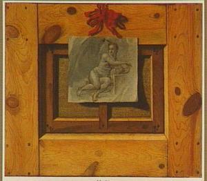 Trompe-l'oeil van de achterkant van een schilderij met daarop een tekening van een vrouwelijk naakt
