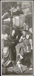 De intrede in Jeruzalem, het verraad van Judas (buitenzijde linkerluik); De kruisafneming, de graflegging (buitenzijde rechterluik); Christus bij de fontein (buitenzijde linker bovenluik); Christus en de heilige vrouwen (buitenzijde rechter bovenluik)