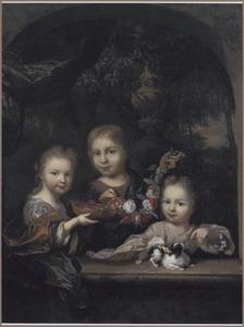 Groepsportret van Agatha Levina (1701-1761), Joan (1699-....) en Anna Elisabeth Geelvinck (1702-....)