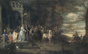 Afscheid van ritmeester Hendrik de Sandra (1619-1707) , uitgeleide gedaan door zijn echtgenote Margareta Tortarolis (1627-1681) en hun kinderen Anna Maria (1647-1681), Margareta Barbara (1651-1679) en Henricus Johannes (1654-1680); achter de kinderen een zelfportret van de kunstenaar