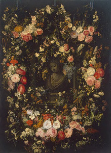 Bloemenguirlande rondom een nis met een buste van de Maagd Maria