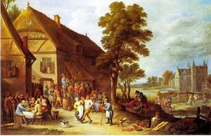 Vrolijke boeren bij een herberg, kasteel de Drij Torens in de verte