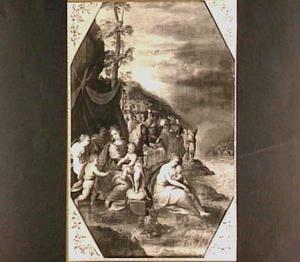 Mozes sluit de Rode Zee boven de soldaten van farao, nadat de Joden met het gebeente van Jozef de andere oever hebben bereikt  (Exodus 14:26-29)