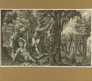 De reizger wordt door rovers overvallen in een bos (Lucas 10:25-37)