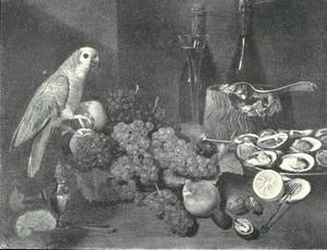 Stilleven met oesters, wijnflessen, paté, druiven en een papegaai