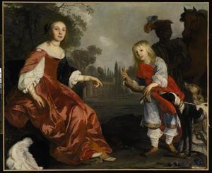 Dubbelportret van een onbekende vrouw en een jongen in fantasiekostuum, met een bediende