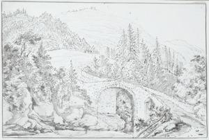 Brug in de vallei van Avers in Zwitserland