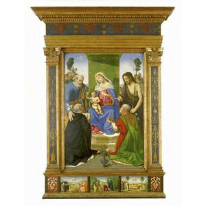 Maria met kind omringd door vier heiligen