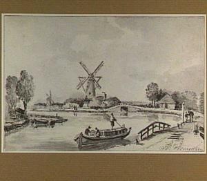 Rivierlandschap met dijk en molens