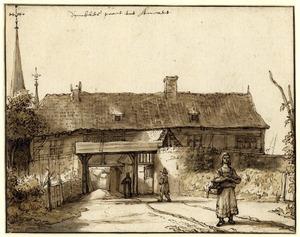 Dymbkes stadspoort van Anrath bij Krefeld, met drie figuren op de voorgrond