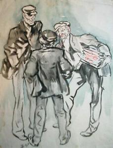 Drie mannen in gesprek