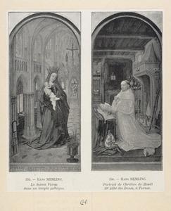 Maria met kind in een kerkinterieur (binnenzijde linkerluik), Christiaan de Hondt, dertigste abt van de cisterciënserabdij Ter Duinen bij Brugge (1495-1509) (binnenzijde rechterluik)