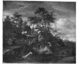 Heuvellandschap met vakwerkhuizen bij kasteel Bentheim