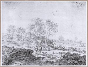 Landschap met figuren en vogelvangst met netten