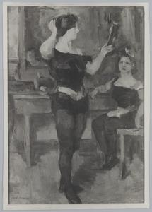 Meisjesacrobaten in de kleedkamer