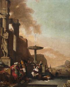 Gezicht op een zuidelijke kustplaats met handelaren bij een klassiek ruïne