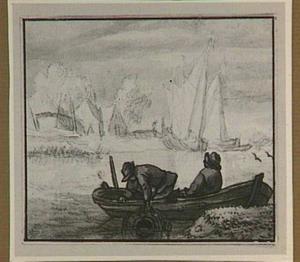 Rivierlandschap met twee vissers met fuik in een vissersbootje