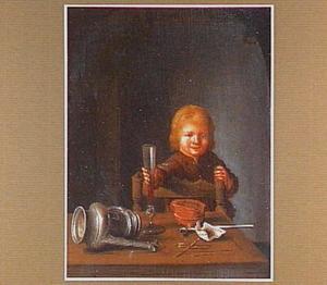 Jongen achter een tafel met rode wijn in een fluitglas, liggende kan en rookgerei
