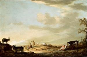 Landschap met herders en hun vee