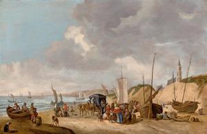 Visafslag op het strand bij Scheveningen