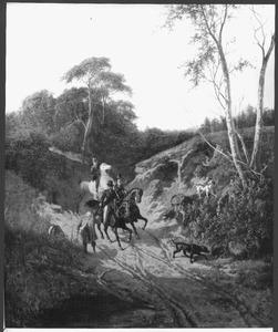 Ruitergezelschap in een boslandschap
