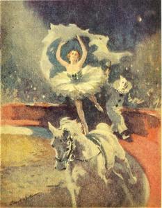 Voltigeuse op het programma van het circus Bertram Mills