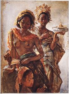 Compositie van twee Balinese schonen en een kind