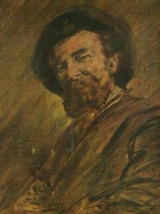 Zelfportret van Wilhelm Busch (1832-1908) met wijnglas