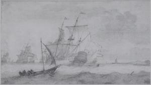 Hollandse schepen op woelige zee