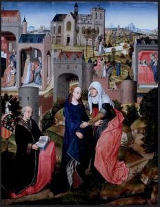 De visitatie en de legende van de stichting van de S. Maria ad Nives (Maggiore) in Rome, met de schenker Claudio Villa