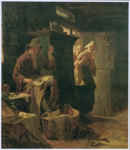 Interieur met vrijgezel die door twee vrouwen bespot