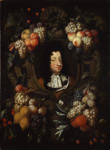 Vruchten om een stenen cartouche met portret van koning Christiaan V