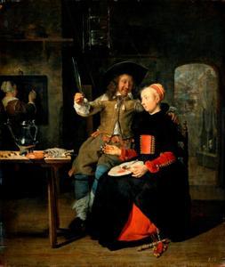 Zelfportret van Gabriël Metsu (1629-1667) met zijn vrouw Isabella de Wolff (?-1718) als de verloren zoon in de herberg