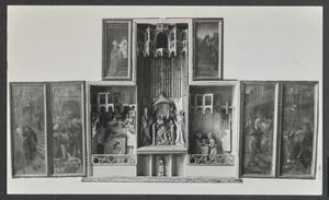 De presentatie van Maria in de tempel, het huwelijk van Maria en Josef (binnenzijde linkerluik); De aanbidding, de Boom van Jesse, de besnijdenis (middendeel); De presentatie van Jezus in de tempel, de kindermoord (binnenzijde rechterluik); De geboorte van Maria (binnenzijde linker bovenluik); De vlucht naar Egypte (binnenzijde rechter bovenluik)