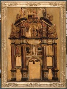 Schets van de achterzijde van de triomfboog van Filips IV