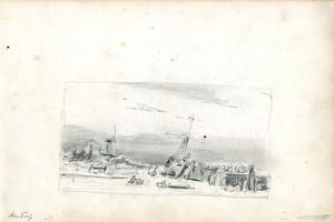 Schets van boot aan wal met molen