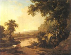 Landschap met figuur rustend bij een meer, een abdijruïne in de achtergrond