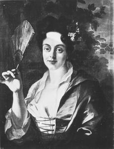 Portret van een dame met een waaier
