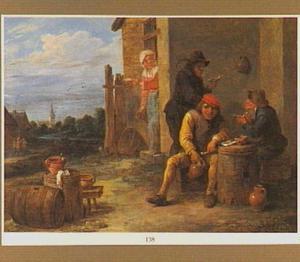 Drie rokende mannen voor een herberg