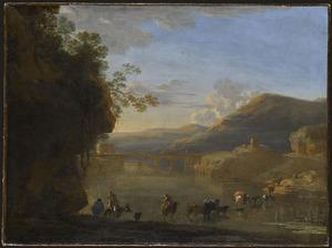 Zuidelijk rivierlandschap met een kudde die de rivier oversteekt