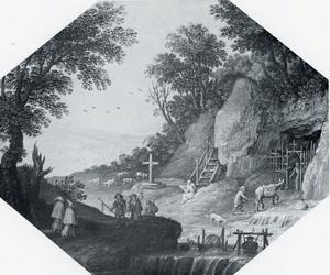 Rotslandschap met monniken
