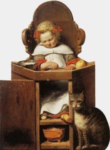 Slapende jongen in kinderstoel