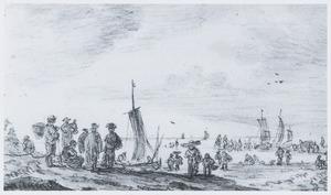 Vissers op het strand en bootjes