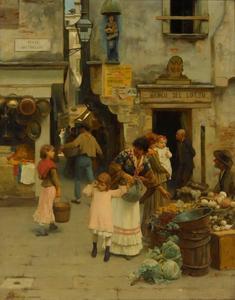 Venetiaanse straatscène op de Ponte dei Meloni