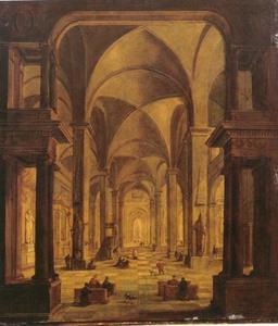 Gezicht op een gotisch kerkinterieur met elegante stedelingen